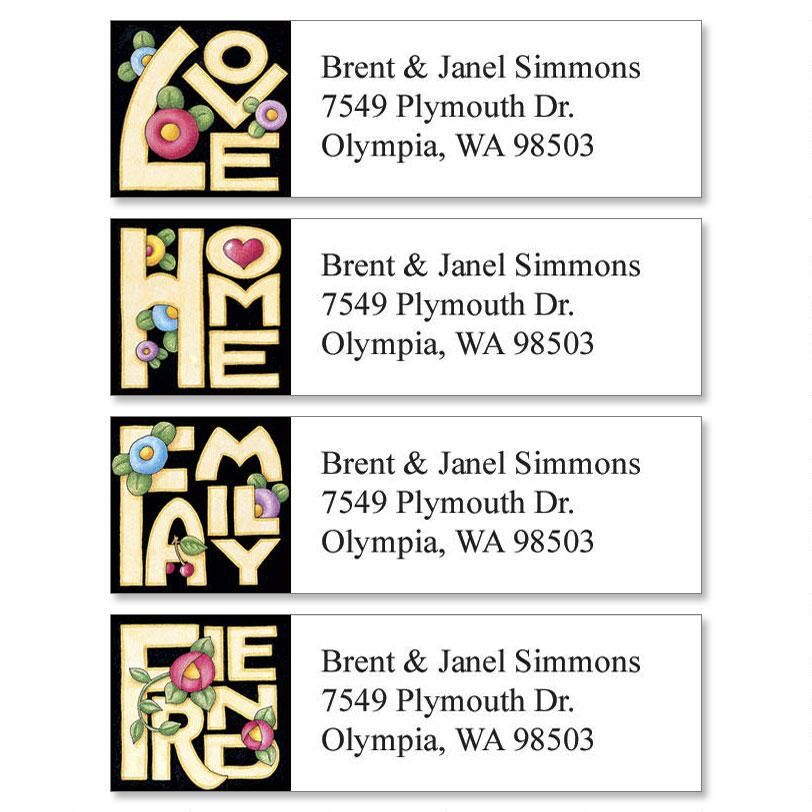 Love Home Family Friend Classic Return Address Labels Colorful Images