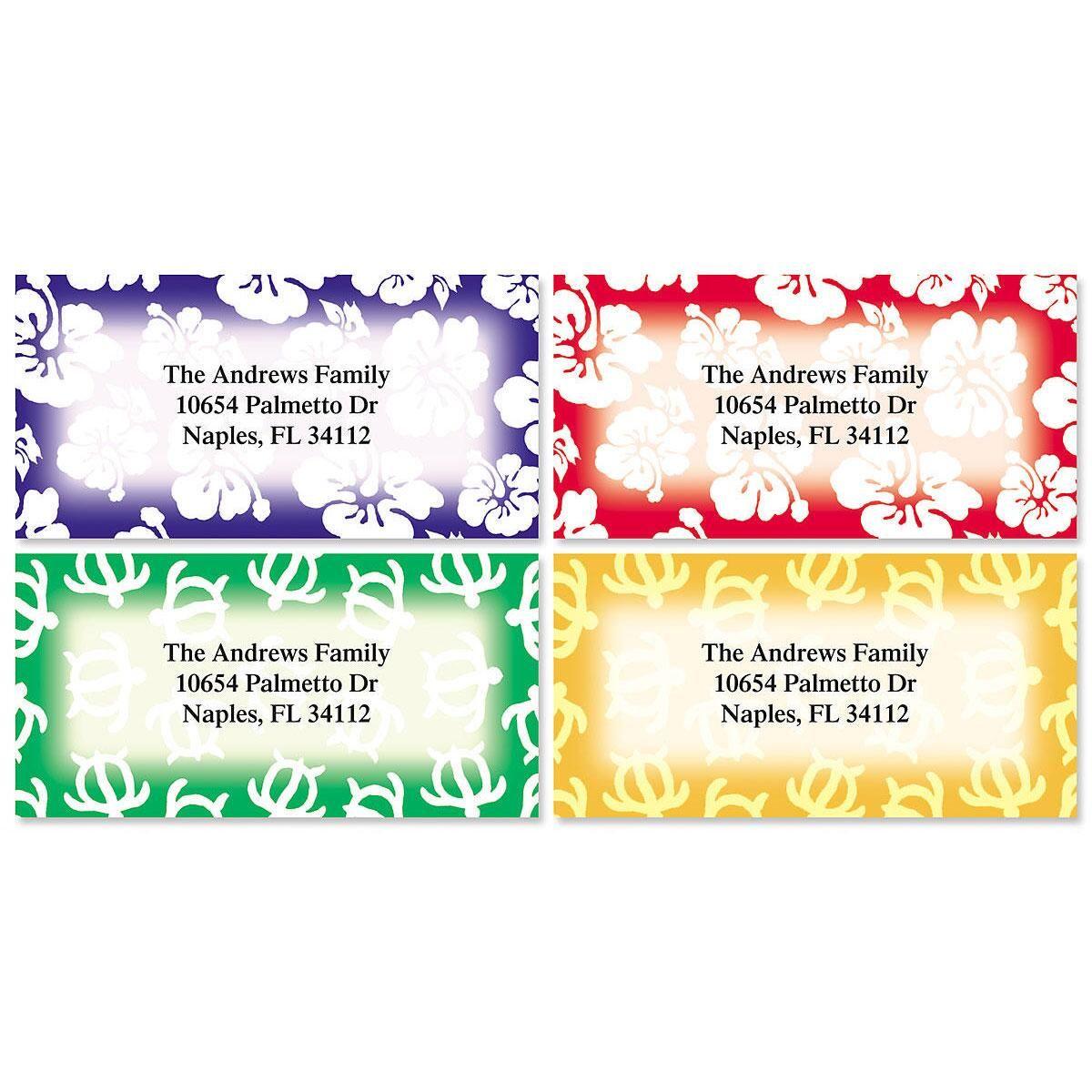 Hawaiian Prints Border Address Labels  (4 Designs)