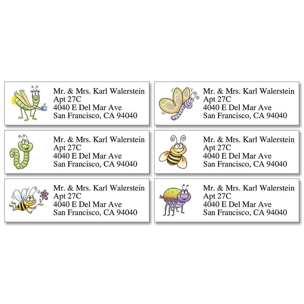 Fun Bugs  Classic Return Address Labels   (6 Designs)
