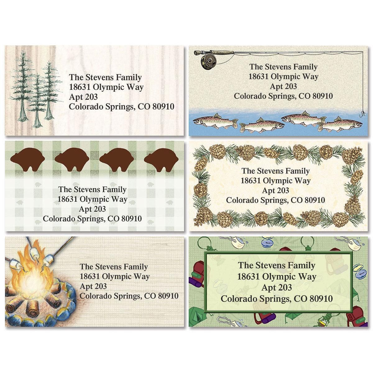 Camping & Fishing Border Address Labels  (6 Designs)