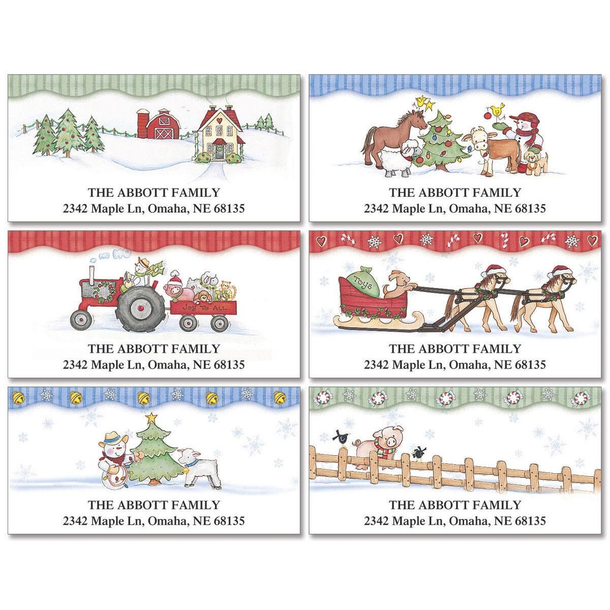 Holiday Farm  Deluxe Return Address Labels  (6 Designs)