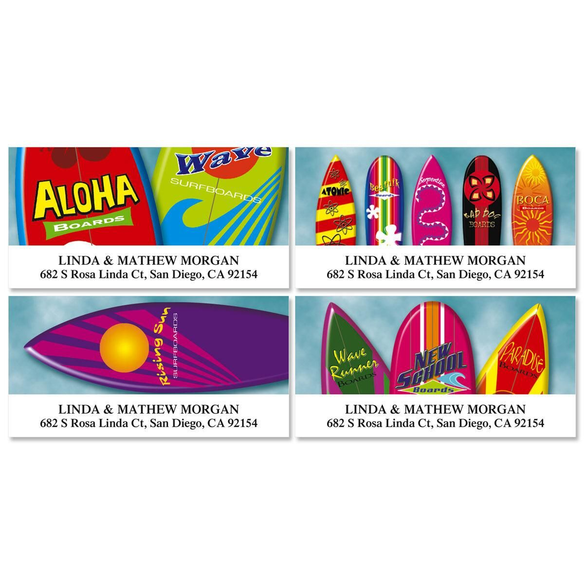 Surf's Up Deluxe Return Address Labels  (4 Designs)