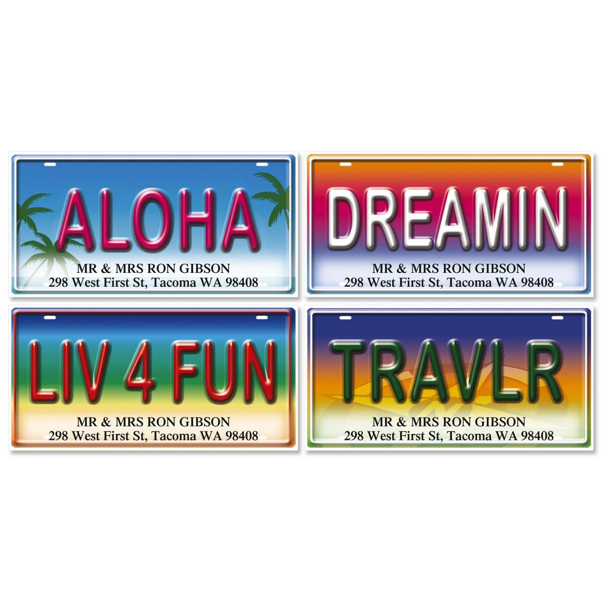 License Plates Deluxe Return Address Labels  (4 Designs)
