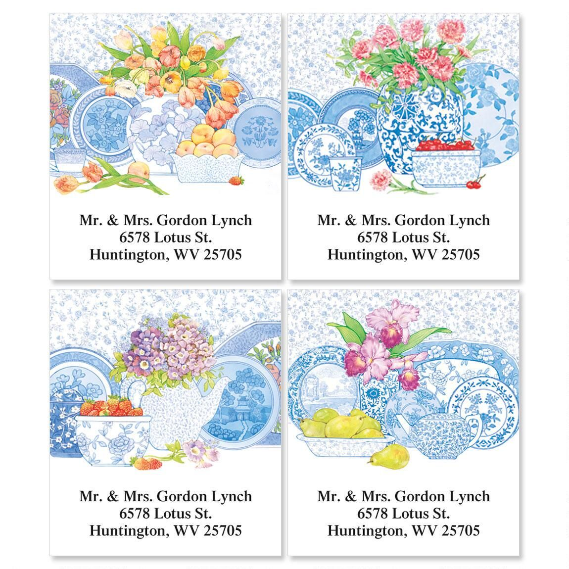 Blue Delft Select Return Address Labels  (4 Designs)