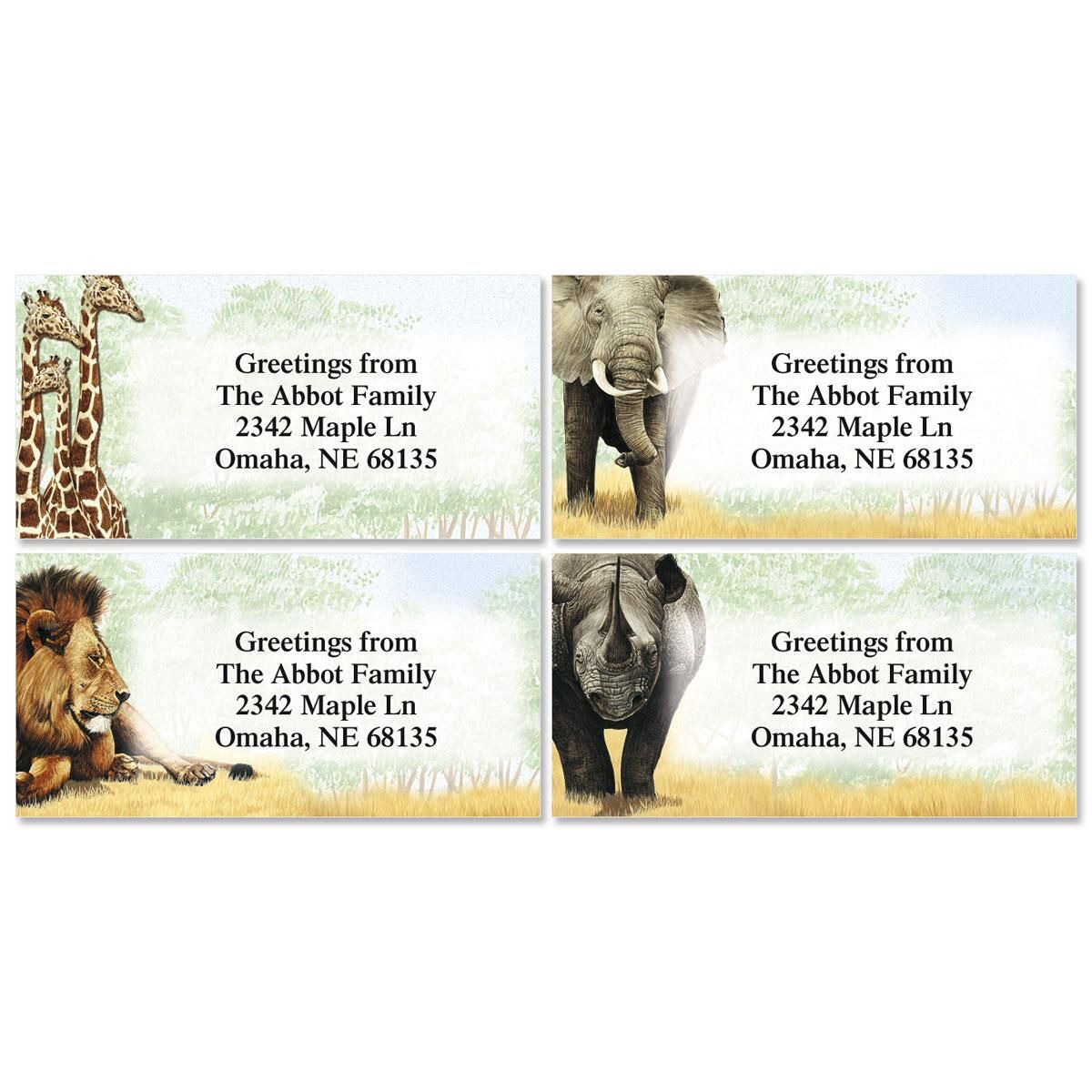 Trip to Africa Border Return Address Labels   (4 Designs)