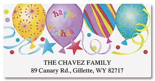 Happy Birthday Deluxe Return Address Labels