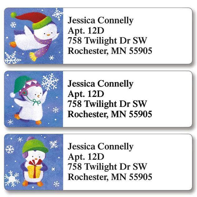 Christmas Penguins Classic Return Address Labels  (3 Designs)