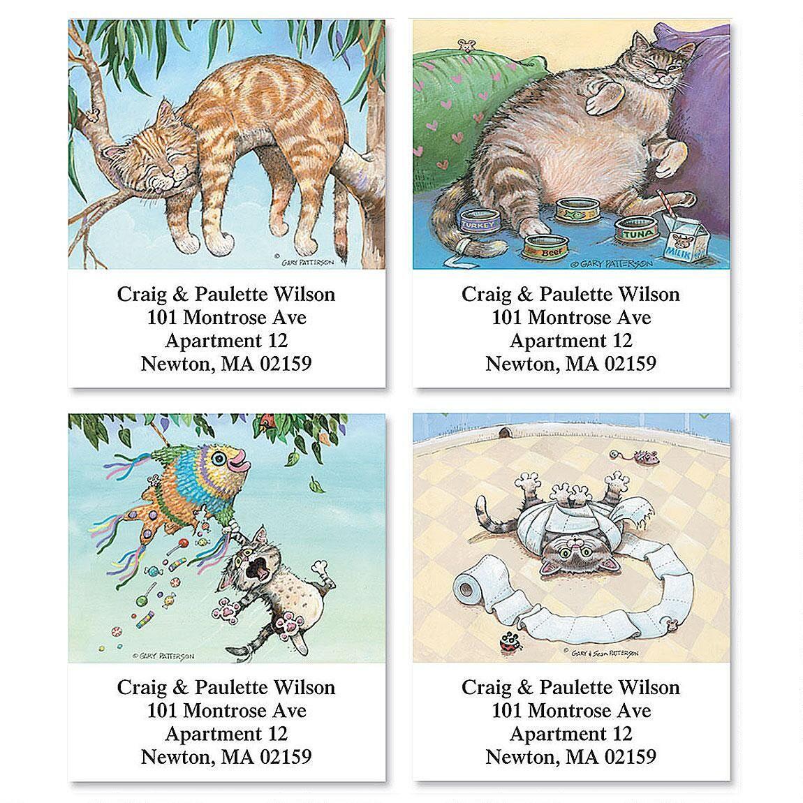 Cat Fun Select Return Address Labels  (4 Designs)