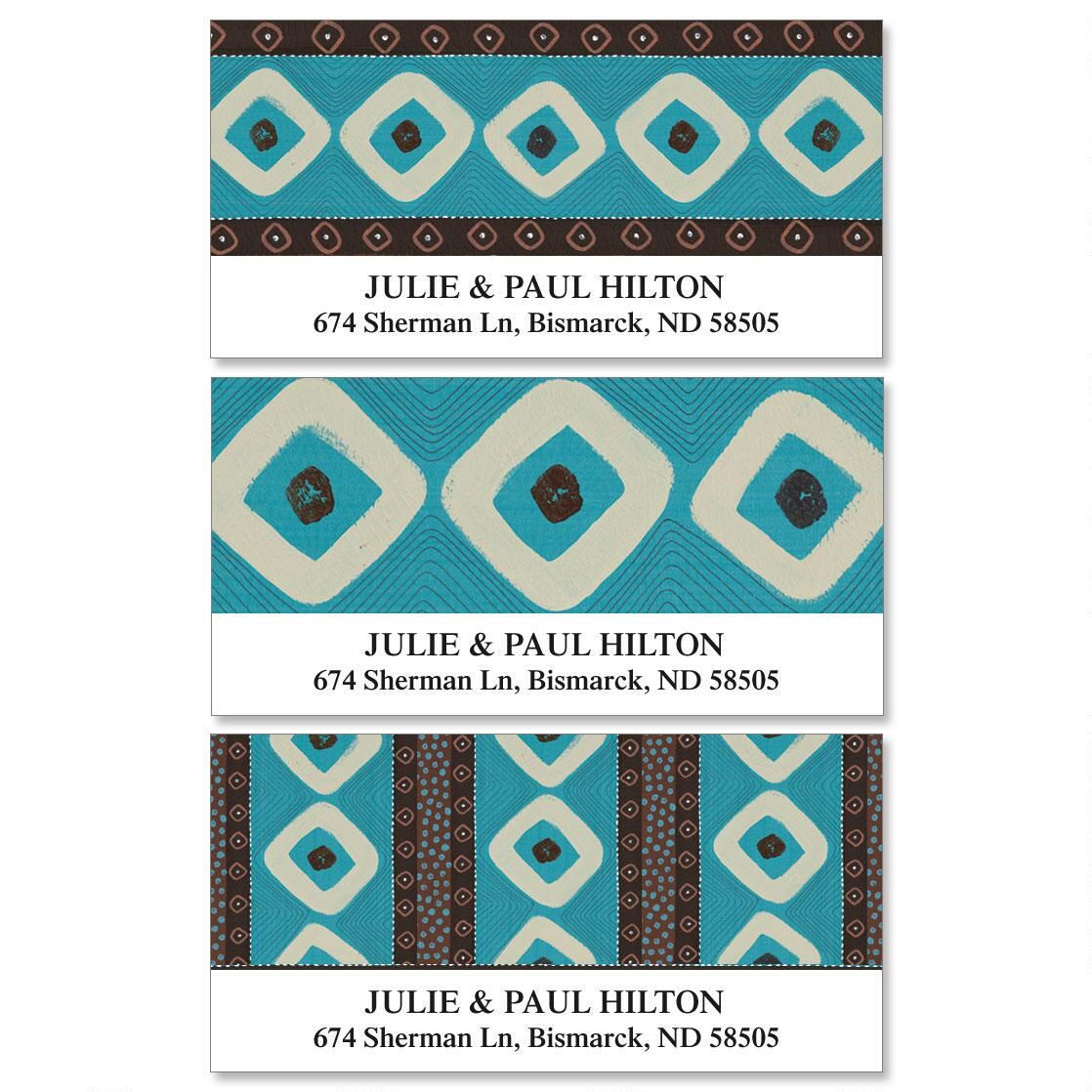Brown & Turquoise  Deluxe Address Labels  (3 Designs)