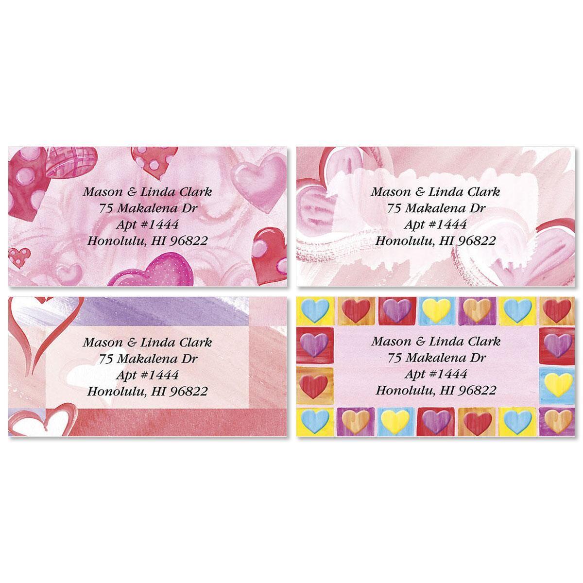 Romancing Hearts Border Return Address Labels  (4 Designs)