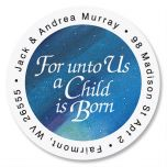 A Child Is Born  Round Address Labels