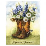 Country Boots Personalized Note Cards