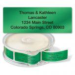 Green Foil Rolled Return Address Labels