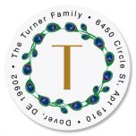Peacock Luster Initial  Round Address Labels