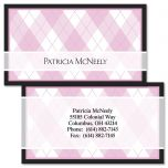 Pink & Black Argyle Double-Sided Business Cards