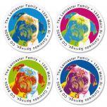 Pop Art Puppies Round Return Address Labels