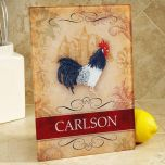 Rooster Glass Personalized Cutting Board