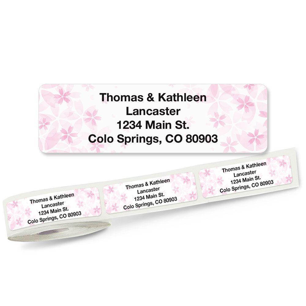 Pretty Pink Floral Rolled Return Address Labels