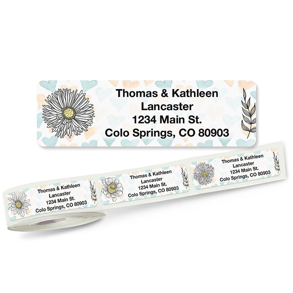Lovely Flowers Rolled Return Address Labels