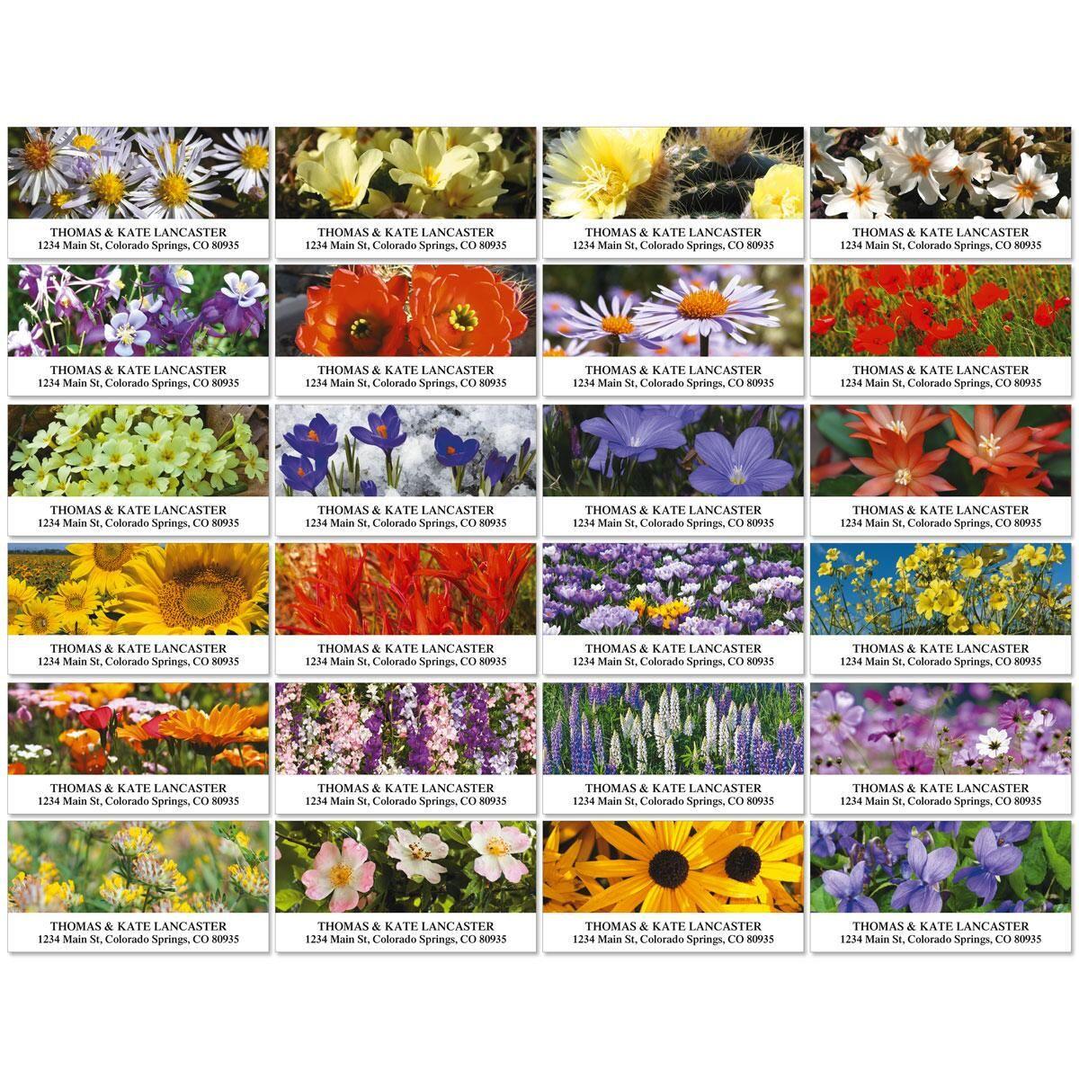 American Wildflowers Deluxe Return Address Labels  (24 Designs)