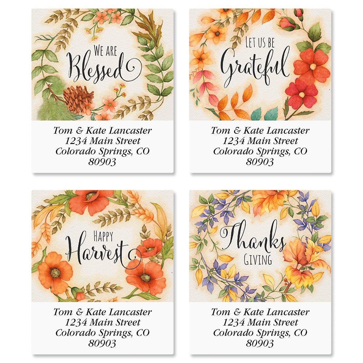 Autumn Wreaths Select Return Address Labels  (4 Designs)