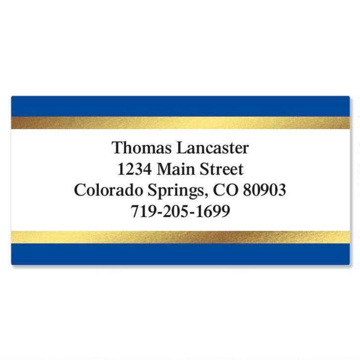 Blue and Gold Foil Border Return Address Labels