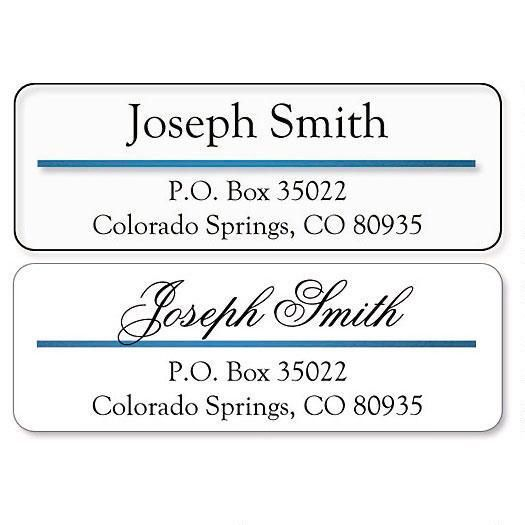 Address Label with Blue Foil Accent Line-Clear-C138