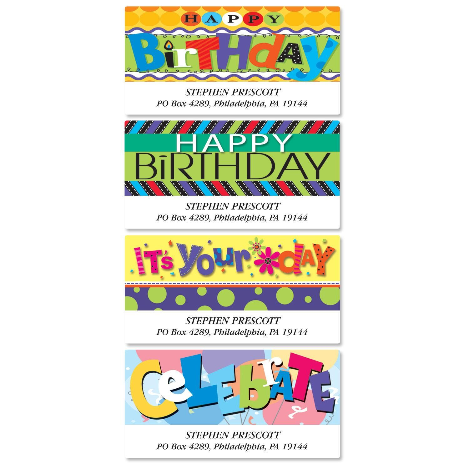 Bold Birthday Deluxe Return Address Labels  (4 Designs)