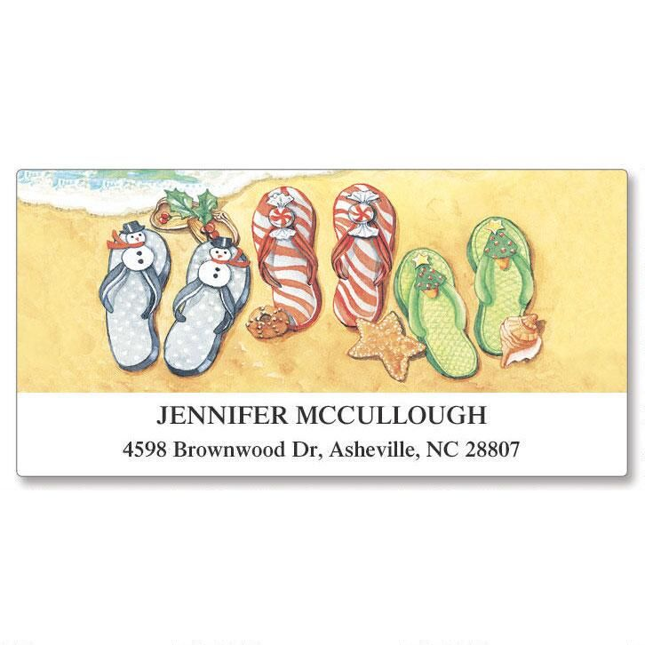 Christmas Flip-Flops Deluxe Return Address Labels