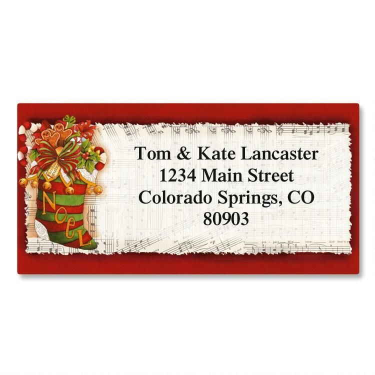 Christmas Stocking Border Return Address Labels