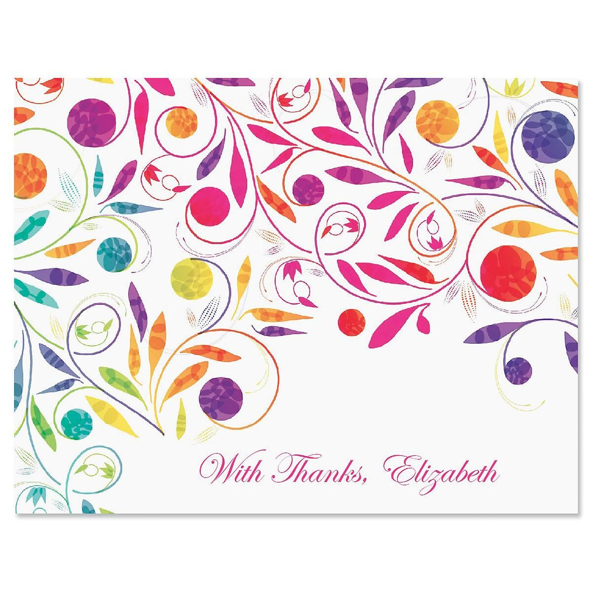 Color Swirl Custom Thank You Cards
