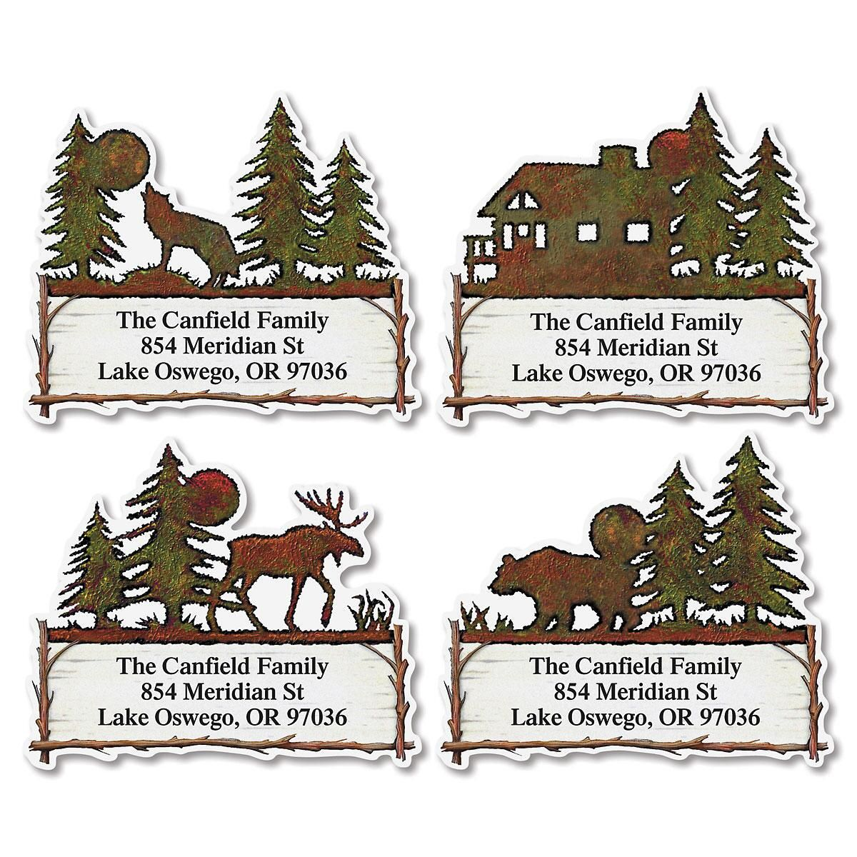 Country Lodge Diecut Return Address Labels  (4 Designs)