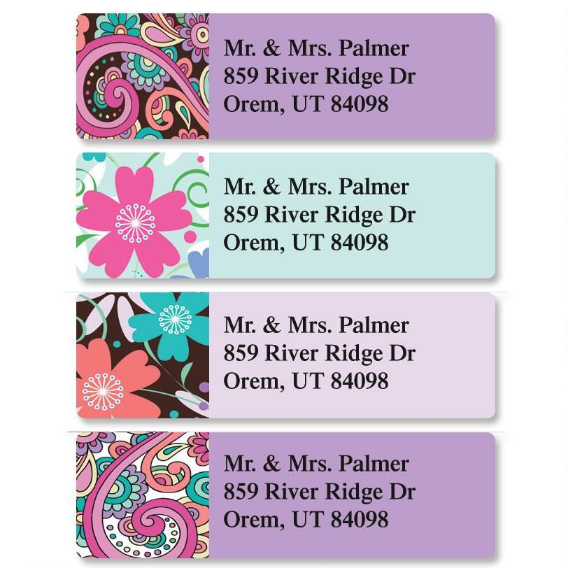 Floral Paisley Classic Return Address Labels  (4 Designs)