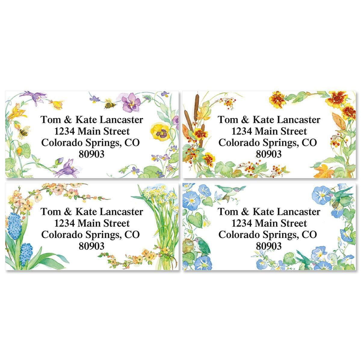 Floral Seasons Border Return Address Labels  (4 Designs)
