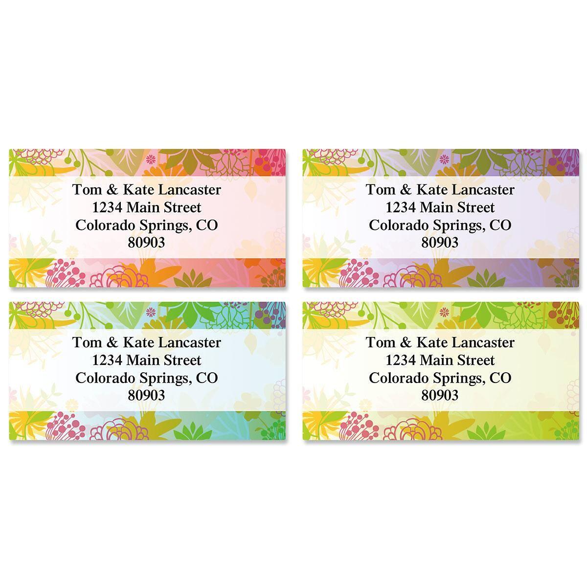 Floret Border Return Address Labels  (4 Designs)