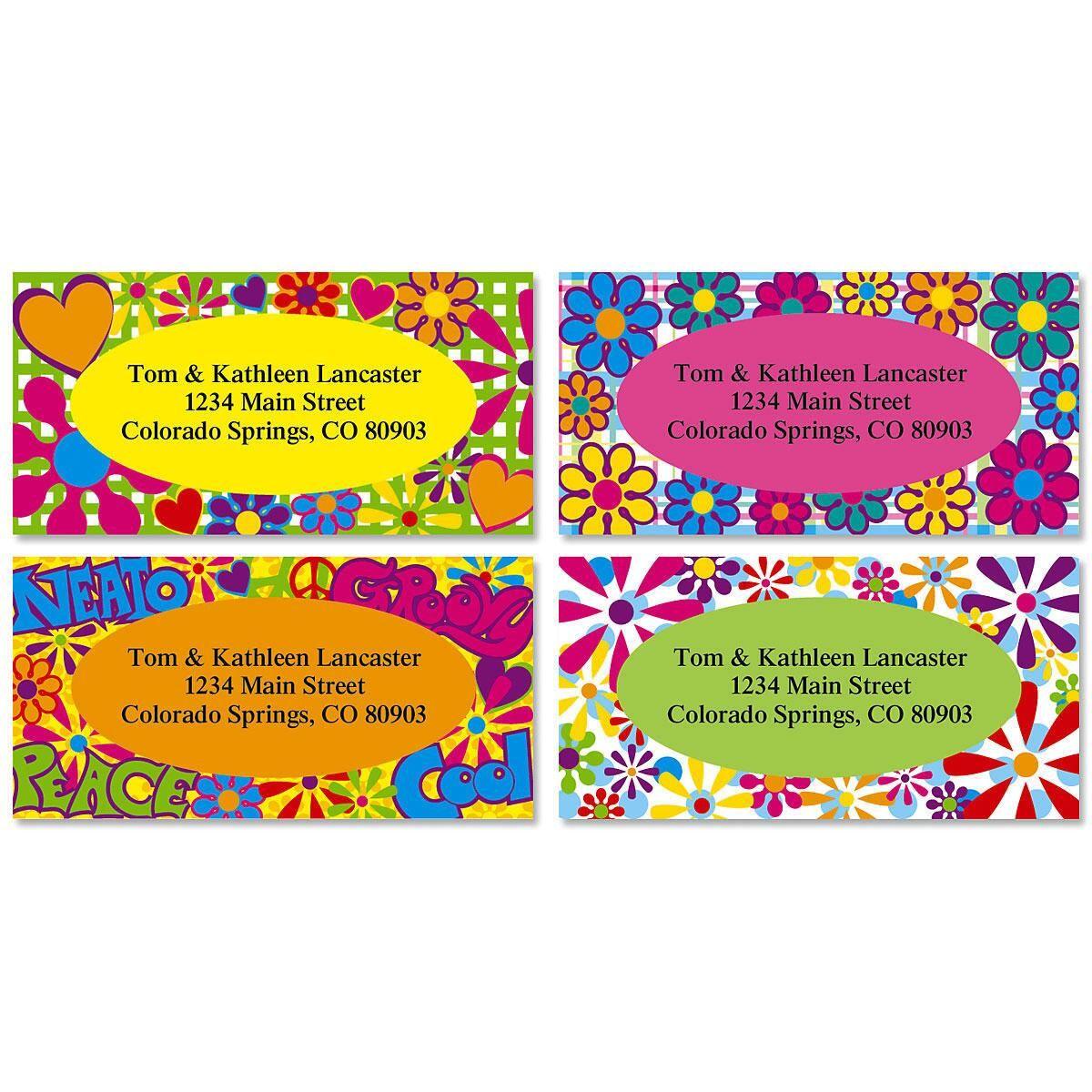 Flower Power Border Return Address Labels  (4 Designs)