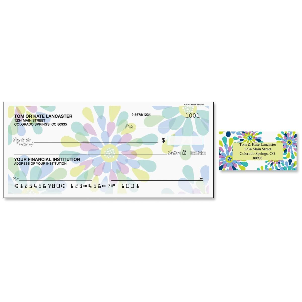 Fresh Blooms Single Checks with Matching Address Labels