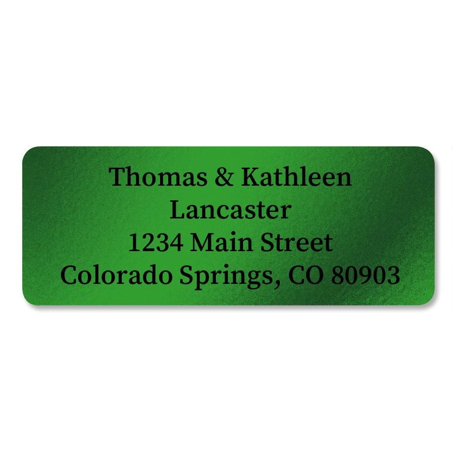 Green Foil Return Address Labels