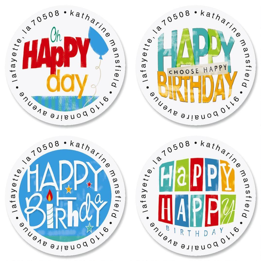 Happy Birthday Round Return Address Labels  (4 Designs)