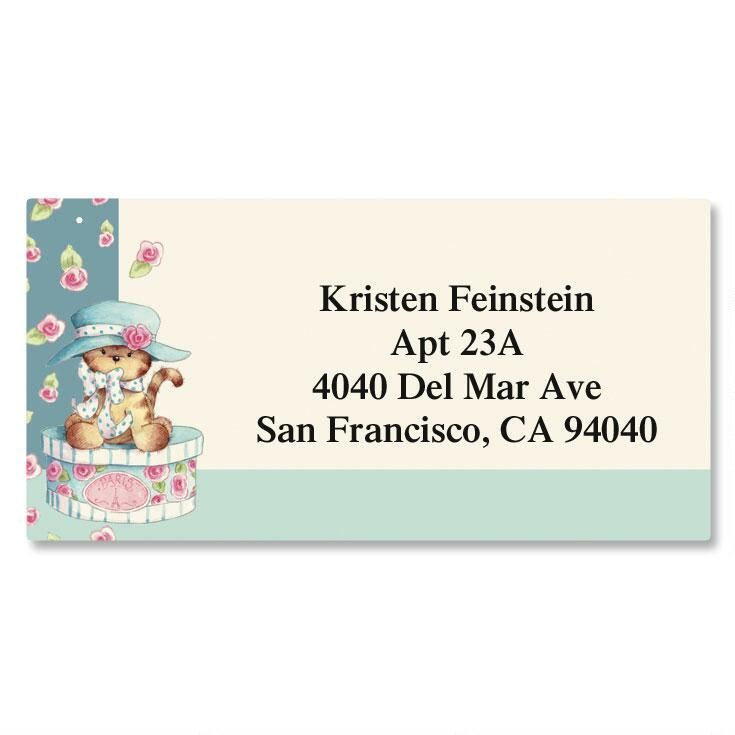 Hat Box Kitten Border Return Address Labels