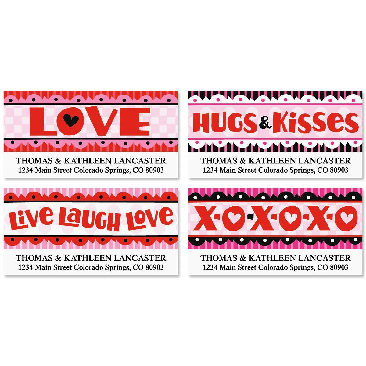 Hugs and Kisses Deluxe Address Labels  (4 designs)