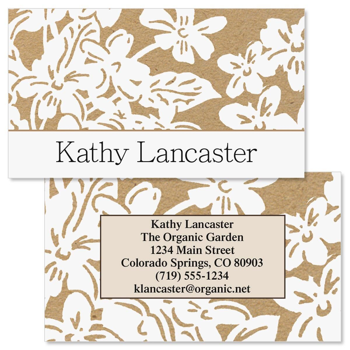 Kraft Flowers  Double-Sided Business Cards