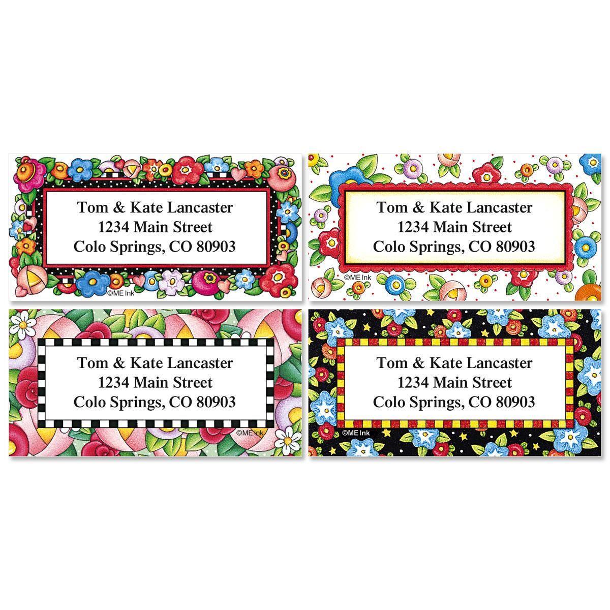 Mary's Bright Blossoms Border Return Address Labels  (4 Designs)