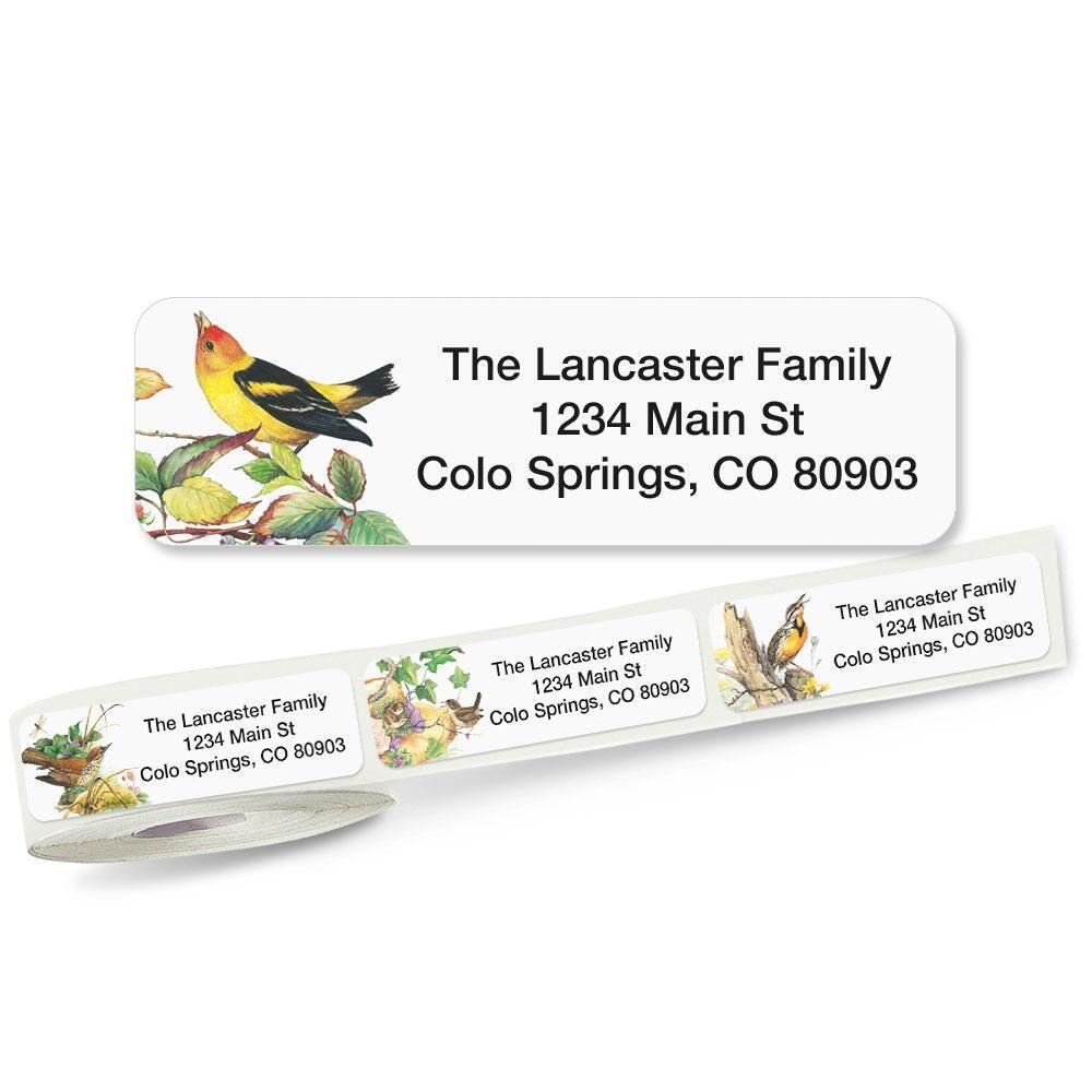Meadow Birds Rolled Return Address Labels  (5 Designs)