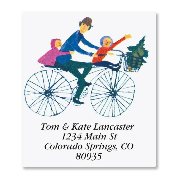 Merry Christmas Bike Ride Select Return Address Labels