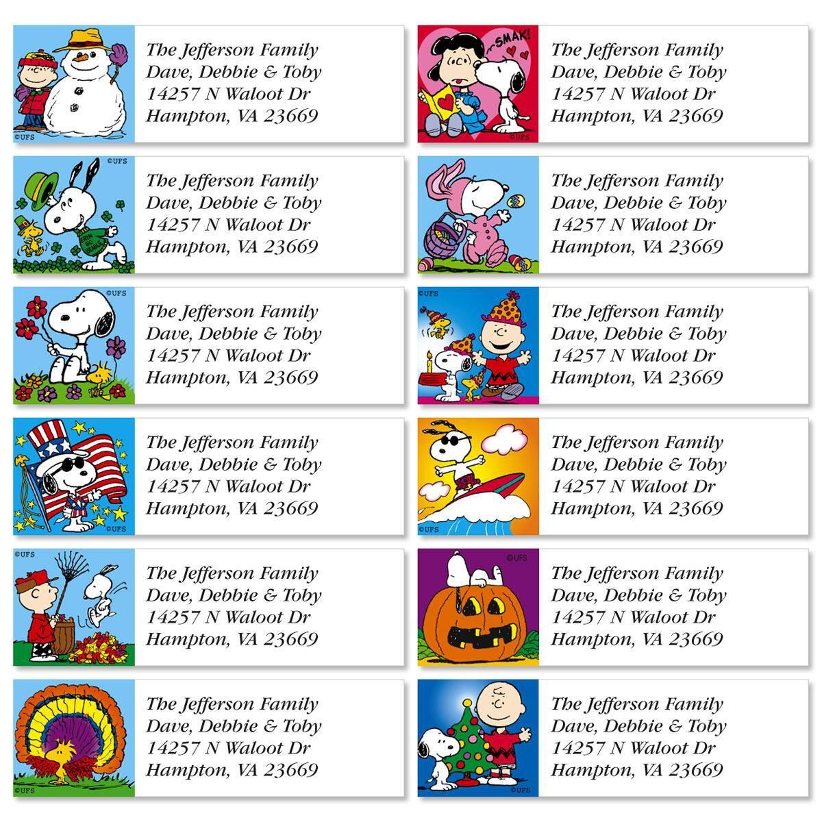 PEANUTS®  Year-Round Classic Return Address Labels  (12 Designs)