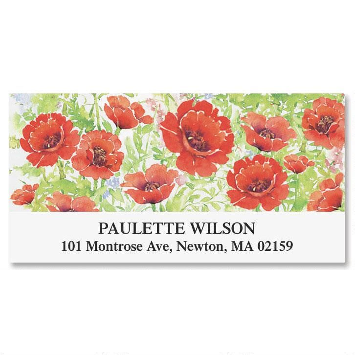 Poppies Deluxe Return Address Labels