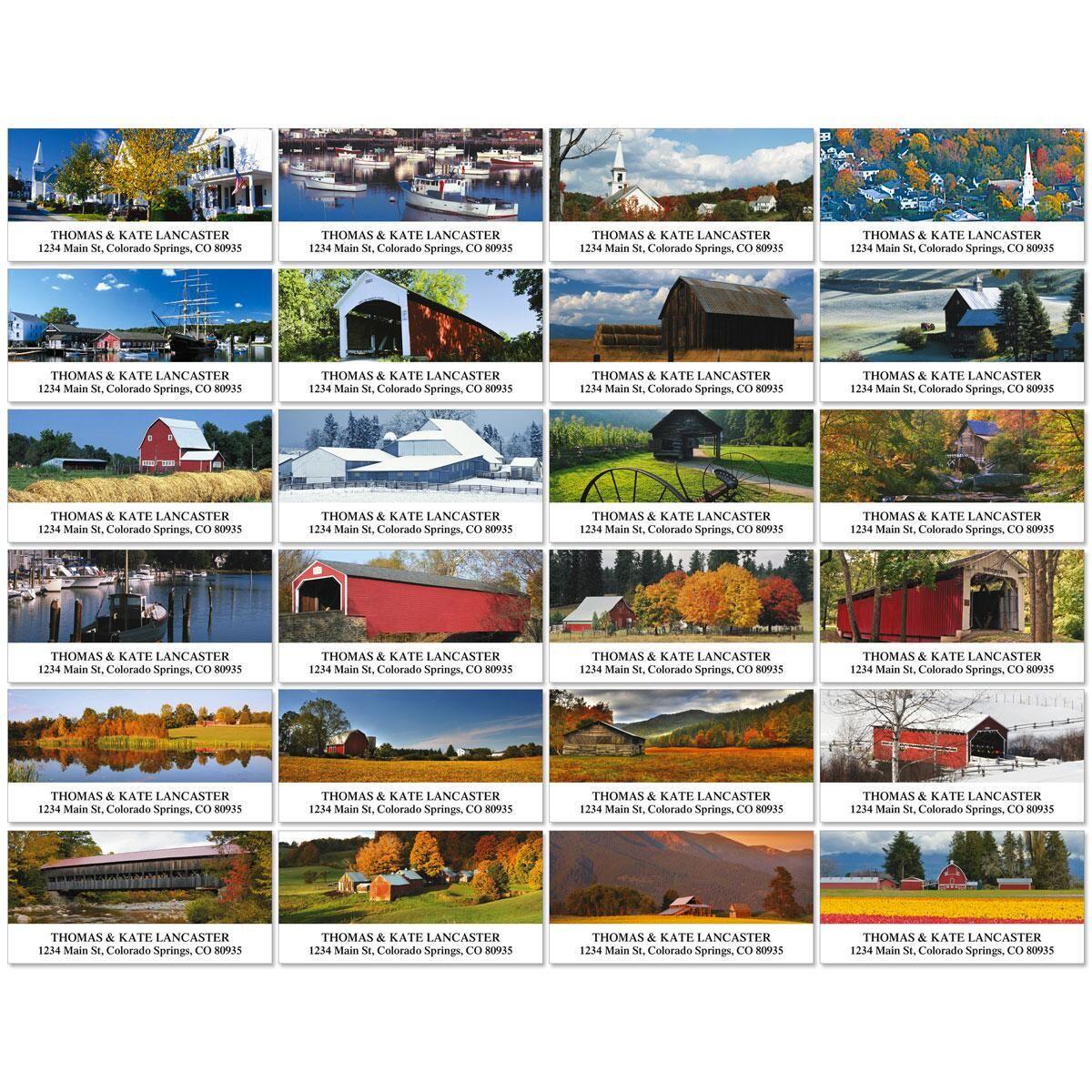 Rustic America Deluxe Return Address Labels  (24 Designs)