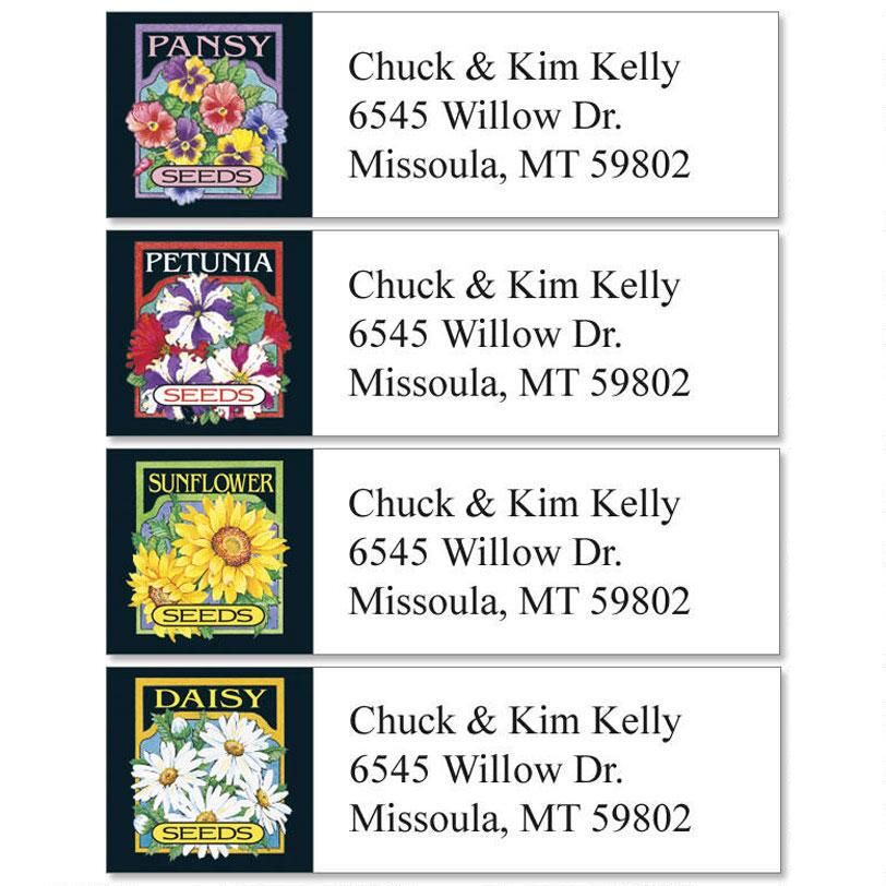 Seed Packet Florals Classic Return Address Labels  (4 Designs)