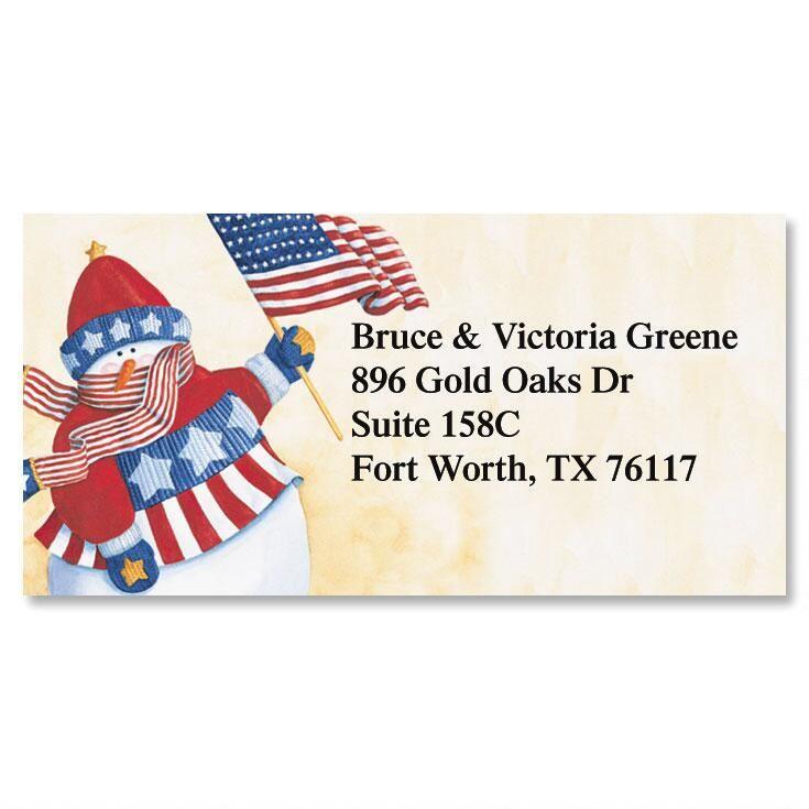 Vicky's Star Spangled Snowman Border Return Address Labels